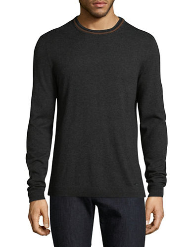 Hugo Crew Neck Cotton-Silk Blend Sweater-CHARCOAL-Medium
