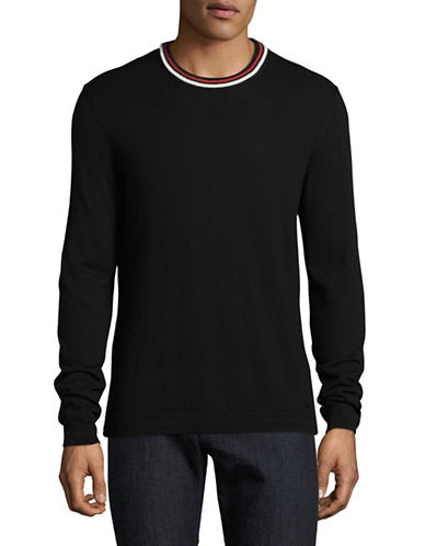 Hugo Crew Neck Cotton-Silk Blend Sweater-BLACK-Medium