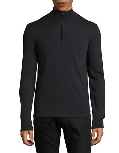 Hugo San Gottardo Merino Wool Mock Zip Sweater-CHARCOAL-X-Large