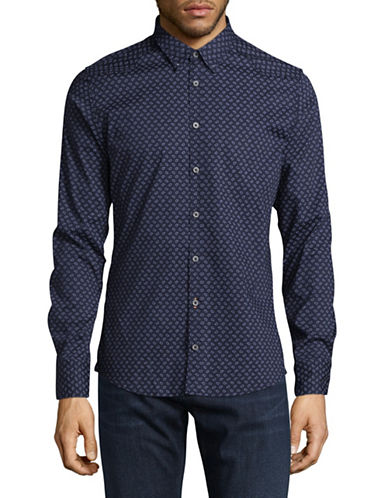 Boss Orange Paisley Shirt-BLUE-Small