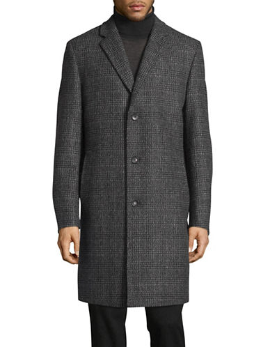Hugo C-Stratus Checkered Wool-Blend Coat-GREY-44