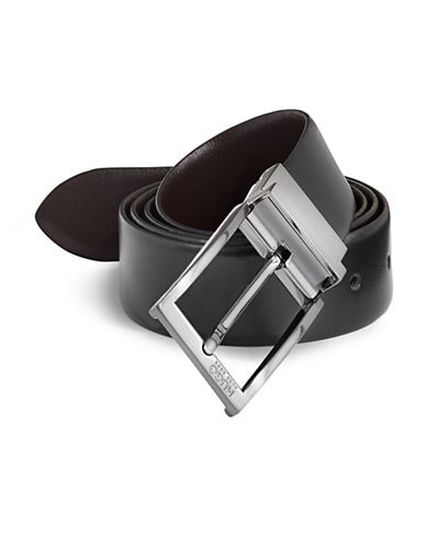 Hugo Leather Prong Buckle Belt-BLACK-One Size