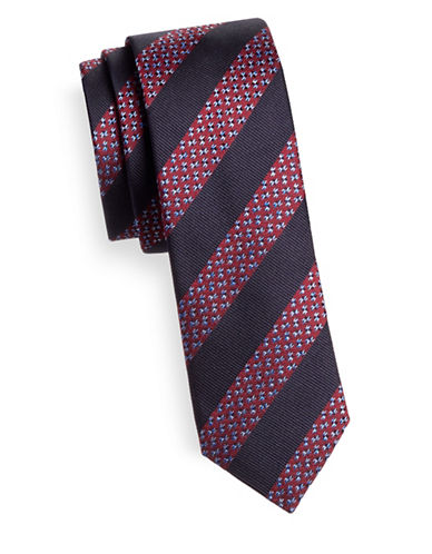 Hugo Slim Striped Silk Tie-RED-One Size