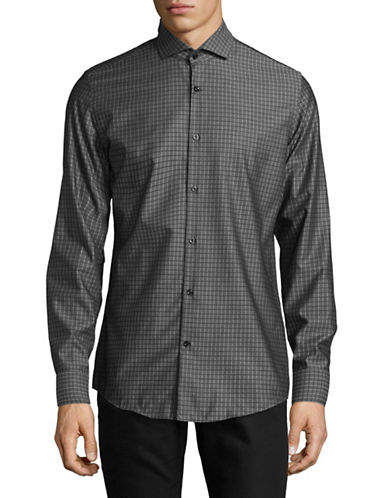 Hugo C-Jason Slim-Fit  Grid Check Sport Shirt-BLACK-EU 37/US 14.5