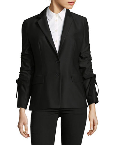 Hugo Amilli Bow-Sleeve Blazer-BLACK-EUR 34/US 2