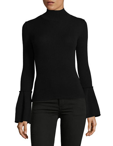 Hugo Bell Sleeve Virgin Wool Turtleneck-BLACK-Medium