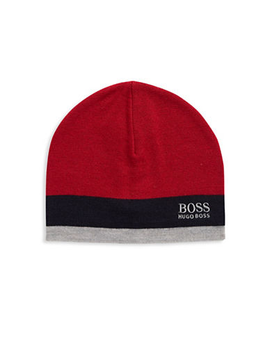 Boss Green Ciny Colourblocked Wool-Blend Tuque-RED-One Size