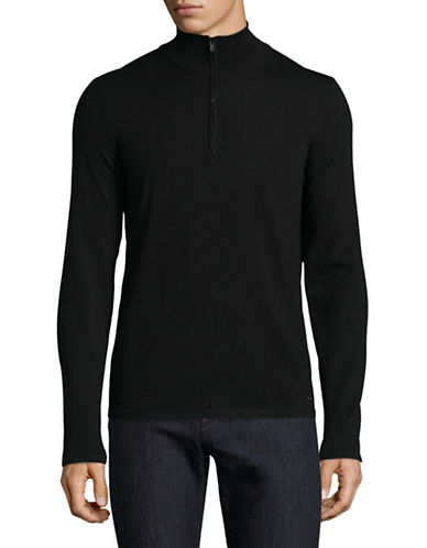 Hugo San Gottardo Merino Wool Mock Zip Sweater-BLACK-Small