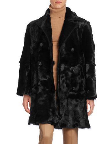 Hugo Double-Breasted Fur Coat-BLACK-Large 88588615_BLACK_Large