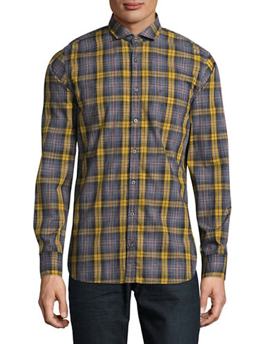Boss Orange Cattitude Plaid Shirt-YELLOW-Medium
