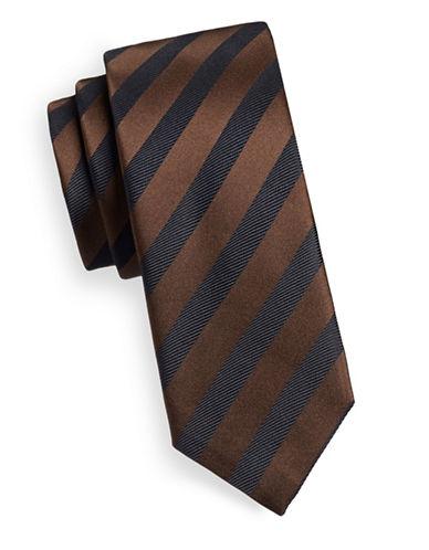 Hugo Textured Stripe Silk Tie-BROWN-One Size