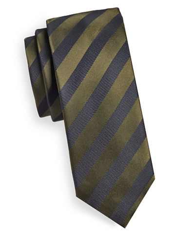 Hugo Textured Stripe Silk Tie-GREEN-One Size