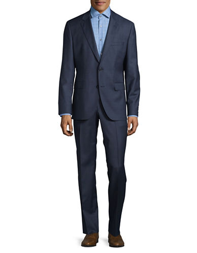 Hugo Glen Plaid Virgin Wool Suit-BLUE-42