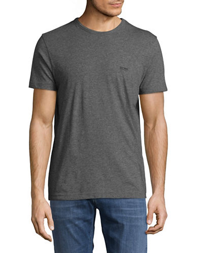 Boss Green Regular-Fit Rubberized Logo Tee-GREY-Large