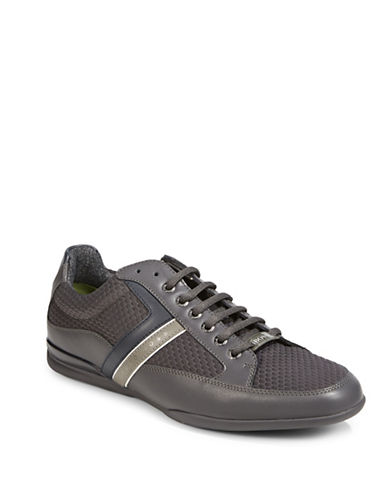 Boss Green Mens Leather-Mesh Training Shoes-DARK GREY-12