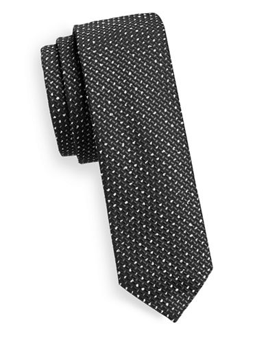 Hugo Slim Speckled Silk-Blend Tie-BLACK-One Size