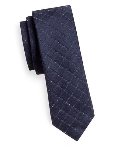 Hugo Slim Grid Check Silk-Wool Tie-NAVY-One Size
