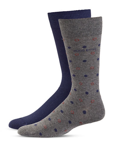 Boss Two-Pack Dotted Socks-MEDIUM GREY-7-12