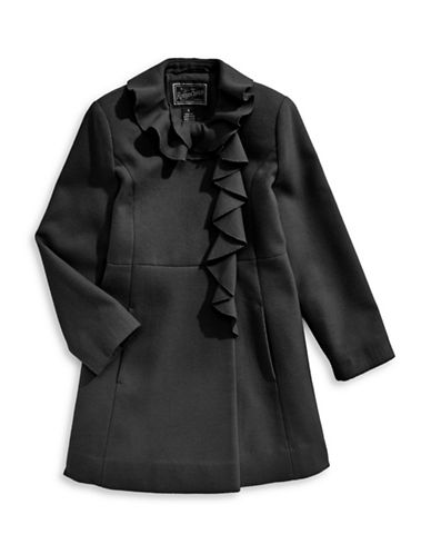Rothschild Ruffle A-Line Coat-BLACK-8