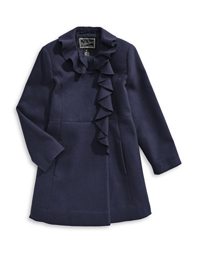 Rothschild Ruffle A-Line Coat-BLUE-7
