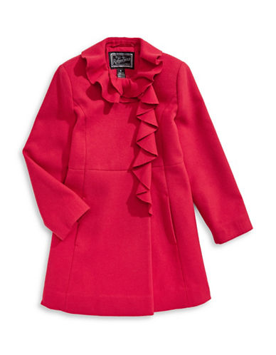 Rothschild Ruffle A-Line Coat-RED-10
