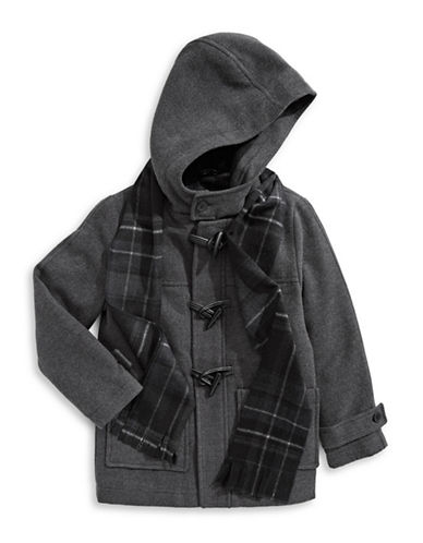 Rothschild Hooded Toggle Coat with Scarf-GREY-8