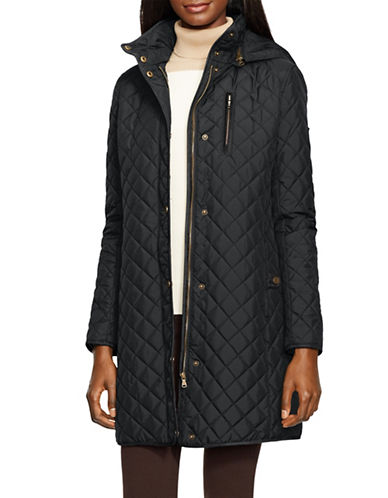 Lauren Ralph Lauren Faux Suede Trim Quilted Jacket-BLACK-X-Small 88449118_BLACK_X-Small