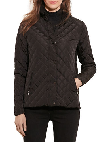 Lauren Ralph Lauren Faux Leather Piping Quilt Jacket-BLACK-X-Small 88449128_BLACK_X-Small