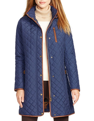 Lauren Ralph Lauren Faux Suede Trim Quilted Jacket-BLUE-X-Small 88449123_BLUE_X-Small