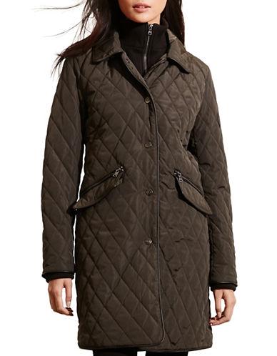 Lauren Ralph Lauren Double Collar Quilt Jacket-GREEN-Medium