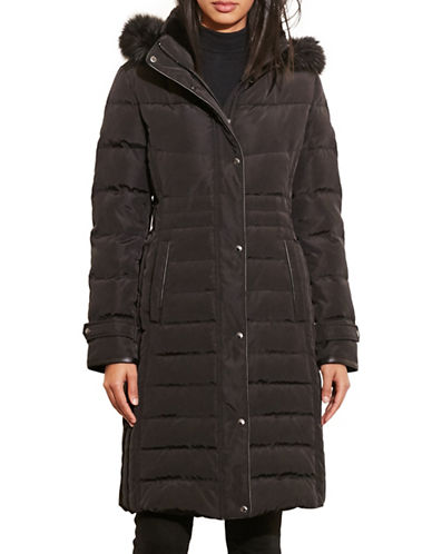 Lauren Ralph Lauren Faux-Fur-Trim Quilted Coat-BLACK-X-Large 88449117_BLACK_X-Large