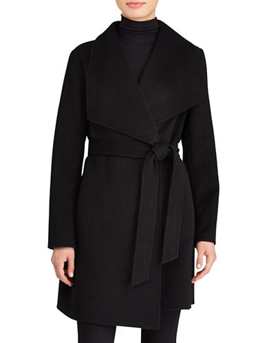 Lauren Ralph Lauren Belted Wrap Coat-BLACK-Medium