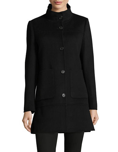 Lauren Ralph Lauren Wool-Blend Drop-Waist Coat-BLACK-Medium