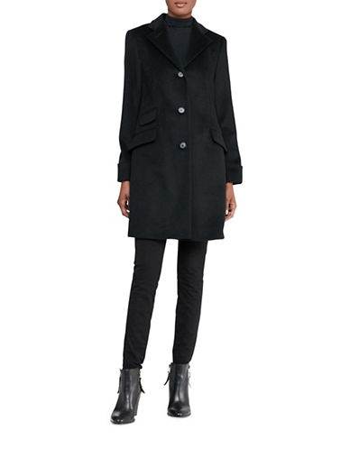 Lauren Ralph Lauren Three-Button Reefer Overcoat-BLACK-14