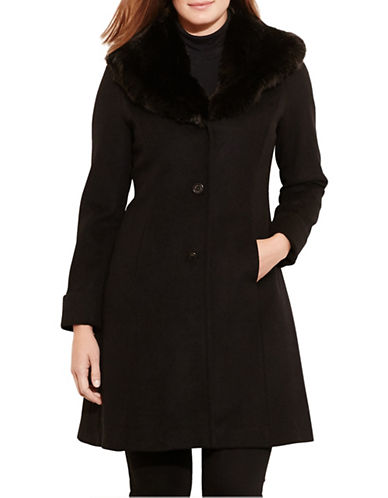 Lauren Ralph Lauren Wool-Blend Shawl Coat-BLACK-14