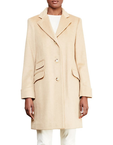 Lauren Ralph Lauren Three-Button Reefer Overcoat-CAMEL-8