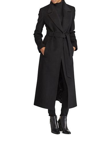 Lauren Ralph Lauren Belted Wool-Blend Coat-BLACK-14