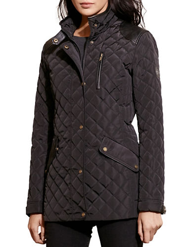 Lauren Ralph Lauren Diamond Quilted Mock Neck Jacket-BLACK-X-Large