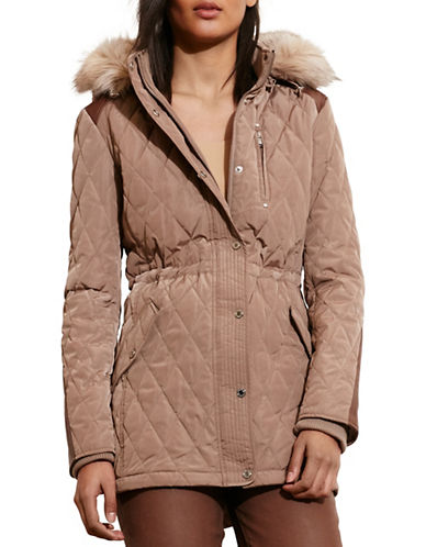 Lauren Ralph Lauren Faux Shearling Hooded Quilted Anorak-BROWN-Large