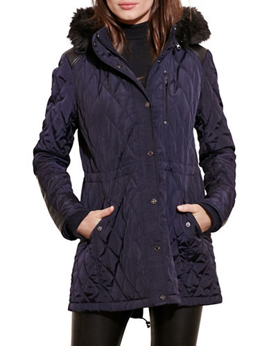 Lauren Ralph Lauren Faux Shearling Hooded Quilted Anorak-DARK NAVY-Large