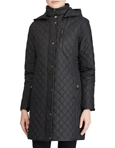 Lauren Ralph Lauren Zip-Up Quilted Coat-BLACK-X-Small