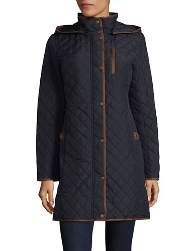 Lauren Ralph Lauren Zip-Up Quilted Coat-DARK NAVY-Large