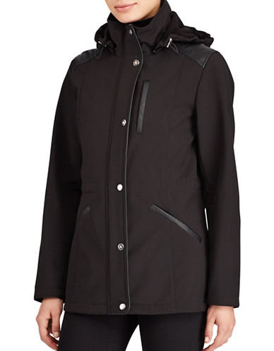 Lauren Ralph Lauren Faux Leather Trim Hooded Coat-BLACK-Medium