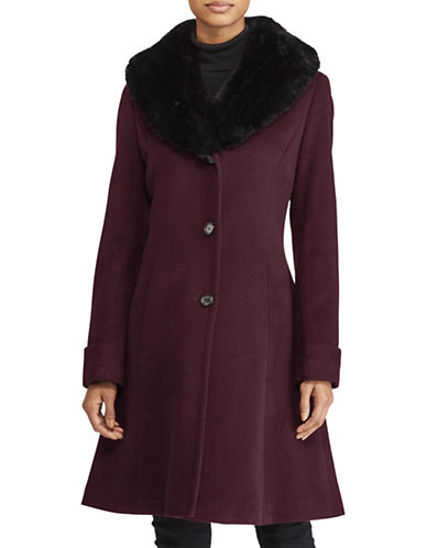 Lauren Ralph Lauren Wool-Blend Shawl Coat-BURGUNDY-16