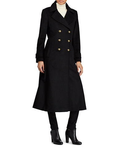 Lauren Ralph Lauren Double-Breasted Wool-Blend Coat-BLACK-14