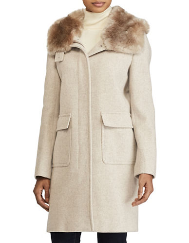 Lauren Ralph Lauren Faux Fur Lined Hooded Wool-Blend Coat-BEIGE-4