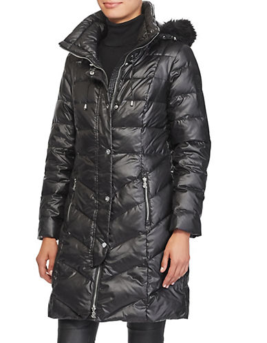 Lauren Ralph Lauren Faux Fur Trim Quilted Coat-BLACK-Large