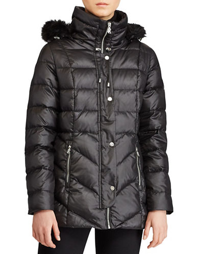 Lauren Ralph Lauren Faux Fur Trim Quilted Coat-BLACK-Small