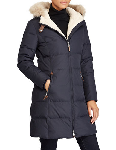 Lauren Ralph Lauren Ods Down Faux Shearling Walker Jacket-NAVY-Medium
