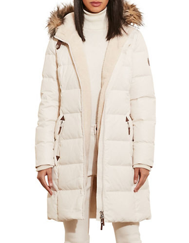 Lauren Ralph Lauren Ods Down Faux Shearling Walker Jacket-CREAM-Medium